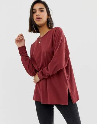 Asos Design DESIGN organic cotton long sleeve washed oversized long sleeve top in burgundy