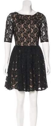 Rachel Zoe Lace-Embellished Belted Dress