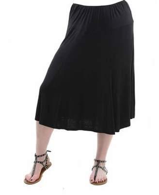 24/7 Comfort Apparel Plus Size Women's Calf-Length Skirt
