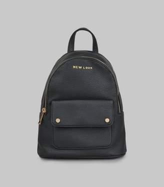 New Look Black Branded Backpack