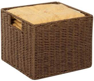 Honey-Can-Do Parchment Cord Basket with Wire Frame and Handles, Brown