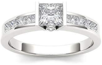 Imperial Diamond Imperial 1 Carat T.W. Diamond Princess-Cut Half-Bezel Classic 14kt White Gold Engagement Ring