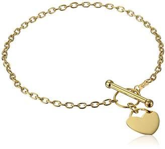 14k Yellow Rolo Heart Tag Link Charm Bracelet