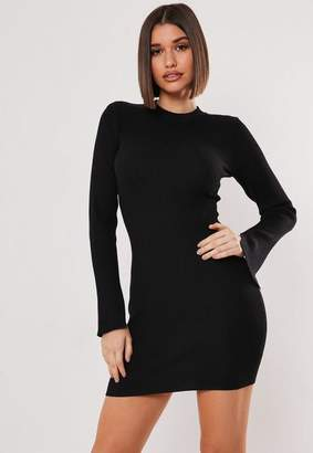 Missguided Petite Black Long Sleeve Ribbed Knit Bodycon Dress