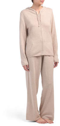 Cashmere Blend Drawstring Hoodie And Pant Set