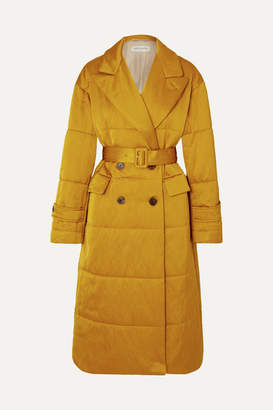 Dries Van Noten Renata Belted Quilted Satin Coat - Mustard