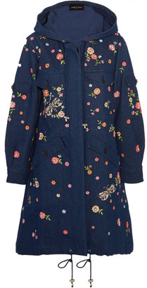 Needle & Thread - Dragonfly Garden Hooded Embellished Embroidered Denim Parka - Dark denim $700 thestylecure.com