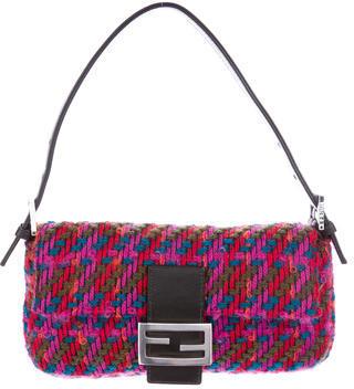 FendiFendi Leather-Trimmed Knit Baguette