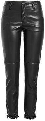 Philosophy di Lorenzo Serafini Faux Leather Pants with Ruffle Trim Ankles