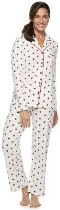 Croft & Barrow Women's Notch Collar Shirt & Pants Pajama Set