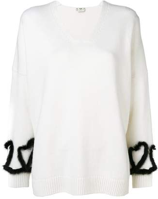 Fendi mink-trimmed v-neck jumper