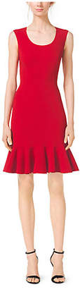 Michael Kors Scoopneck Wool-Crepe Flounce Sheath Dress
