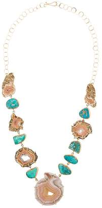 Melissa Joy Manning 14kt yellow gold laguna agate & turquoise necklace