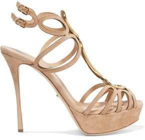 Sergio Rossi Cutout Embellished Suede Platform Sandals