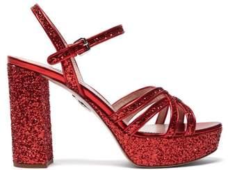 Miu Miu Glitter Platform Leather Sandals - Womens - Red