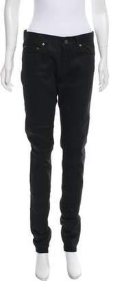 Saint Laurent Coated Mid-Rise Jeans