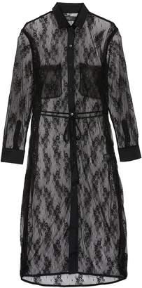 Amiri Belted Chantilly lace shirt dress