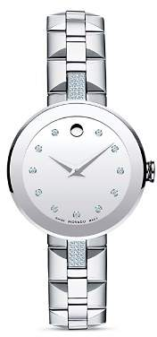 Movado Sapphire Stainless Steel Watch with Diamonds, 28mm