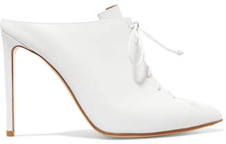 Lace-up Leather Mules - White