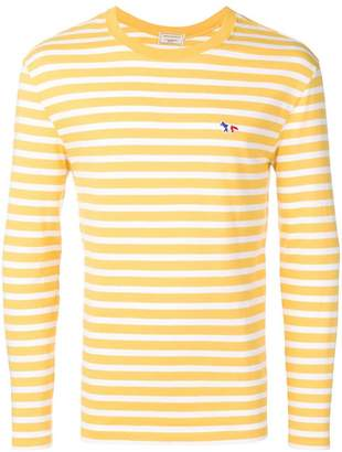 MAISON KITSUNÉ fox patch striped T-shirt