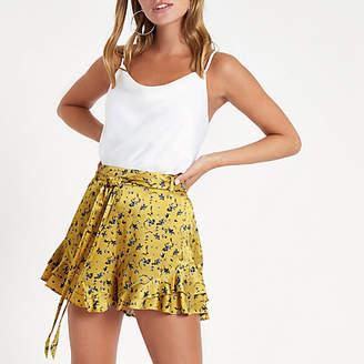 e8e5b868df River Island Womens Petite Yellow floral print frill hem shorts