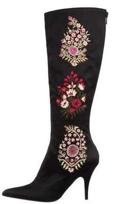 Oscar de la Renta Embroidered Satin Boots