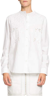 Etoile Isabel Marant Willo Quilted Eyelet Button-Front Shirt