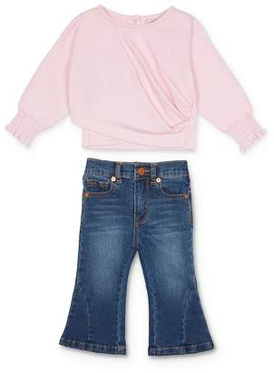 Habitual Kids Girls' Draped Top & Bell Bottom Jeans Set - Baby