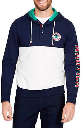 Nautica Fashion Blocked Logo Sleeve Cotton Hoodie