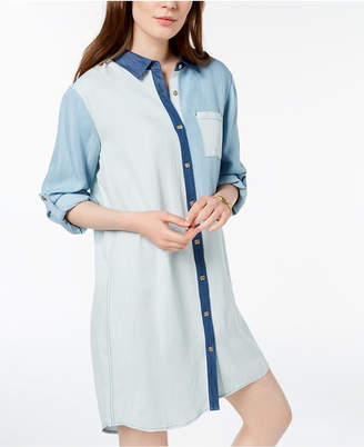 Tommy Hilfiger Colorblocked Long-Sleeve Shirtdress, Created for Macy's