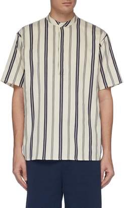 Rue De Tokyo 'Sollya' Mandarin collar stripe short sleeve shirt
