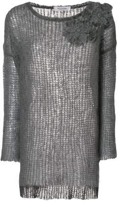 Valentino (ヴァレンティノ) - Valentino フローラル装飾 メッシュセーター