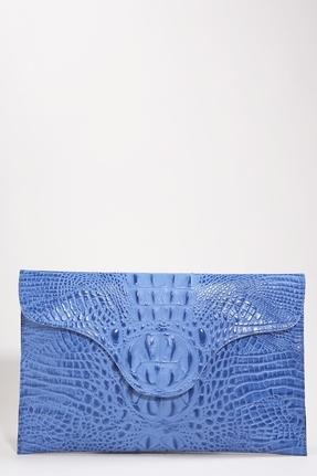 JJ Winters Blake Lively Croco Envelope Clutch in Brite Blue