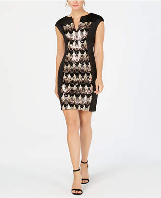 Connected Placed-Sequins Scuba Dress