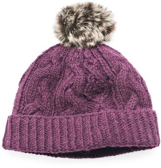 Women's SIJJL Faux-Fur Cable-Knit Beanie $40 thestylecure.com