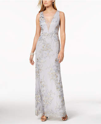 Adrianna Papell Plunging Embroidered Gown