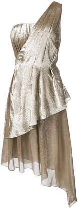 ADAM by Adam Lippes silk lame one shoulder dress with asymmetrical detail