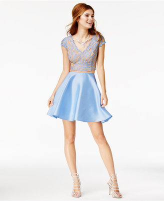 City Studios Juniors' 2-Pc. Lace A-Line Dress $99 thestylecure.com