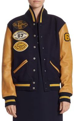 Polo Ralph Lauren Wool Varsity Bomber Jacket $698 thestylecure.com