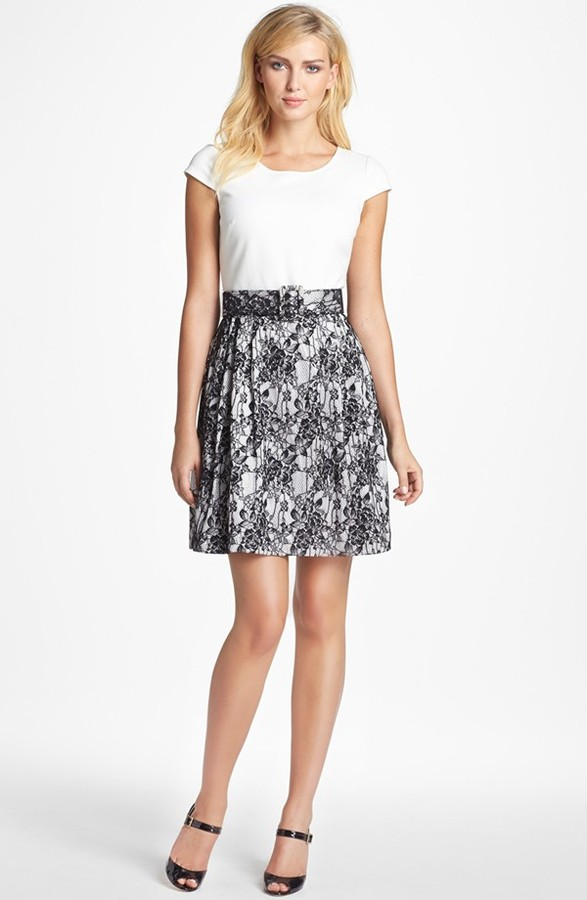 Betsey Johnson Mixed Media Fit & Flare Dress