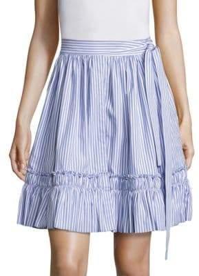 Shirred Hem Striped Skirt