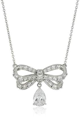 Swarovski Platinum-Plated Sterling Silver Zirconia Bow with Pear drop Pendant Necklace