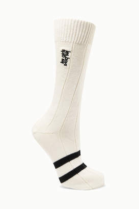 Les Girls Les Boys - Classic Embroidered Striped Cotton-blend Socks - White