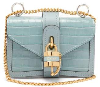 Chloé Aby Mini Crocodile Embossed Leather Shoulder Bag - Womens - Blue