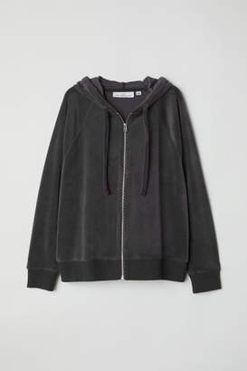 H&M Velour Hooded Jacket - Gray