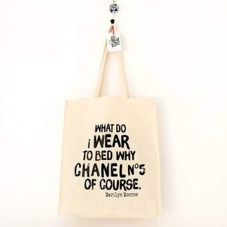 Monroe Rosie Jo's 'Chanel No5' Marilyn Quote Cotton Tote Bag