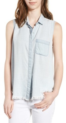 Women's Dl1961 N7Th & Kent Sleeveless Chambray Shirt $128 thestylecure.com
