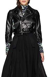Noir Kei Ninomiya Women's Faux-Leather Crop Moto Jacket - Black