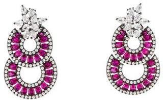 Angélique de Paris Synthetic Ruby & Crystal Farandole Earrings