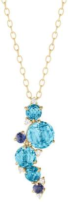 """Blue Topaz, Iolite and Diamond Waterfall Cluster Pendant With Articulation 16"""""""